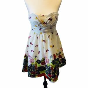 White Floral &Butterfly Print Strapless Mini Dress